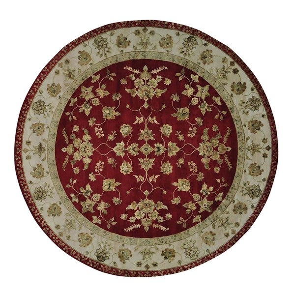 Rajasthan Round Red Wool and Silk Oriental HandmadeRug (9'10 x 10'1)