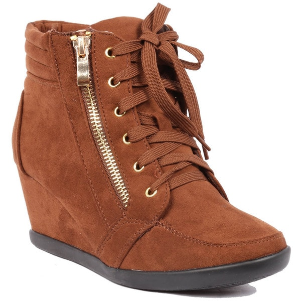 Women's Peggy-56 Suede Lace-Up Wedge Sneakers