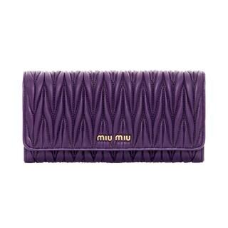 Miu Miu Matelasse Purple Shiny Leather Wallet