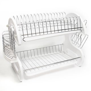 Sleek Contemporary Design 2 Tier Dish Drainer in White