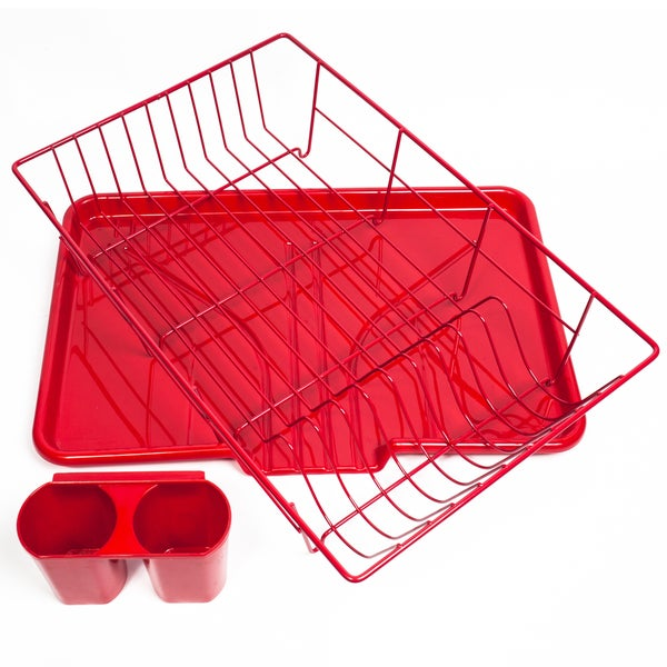 Dish Drainer Red 3-piece Set