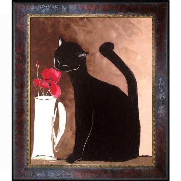 Atelier De Jiel Black Cat with Poppies Framed Fine Art Print