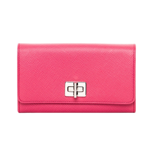 Prada Pink Saffiano Wallet with Leather and Chain Strap