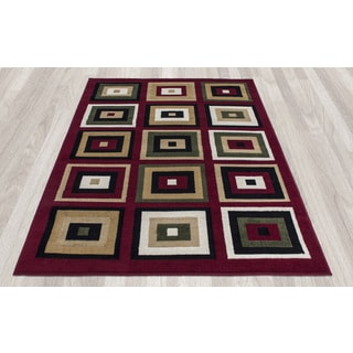 Paterson Collection Dark Red Boxes Area Rug (8'2 x 9'10)