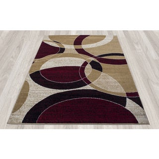 Ottomanson Paterson Collection Gold Circles Area Rug (7'10 x 9'10)