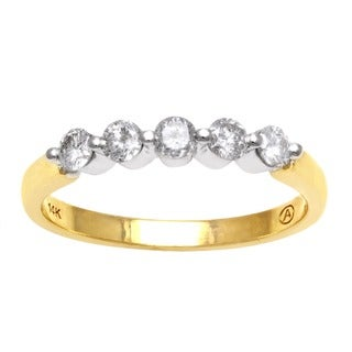 Beverly Hills Charm 14k Two-tone Gold 1/2ct TDW Diamond 5-stone Ring (H-I, I2-I3)