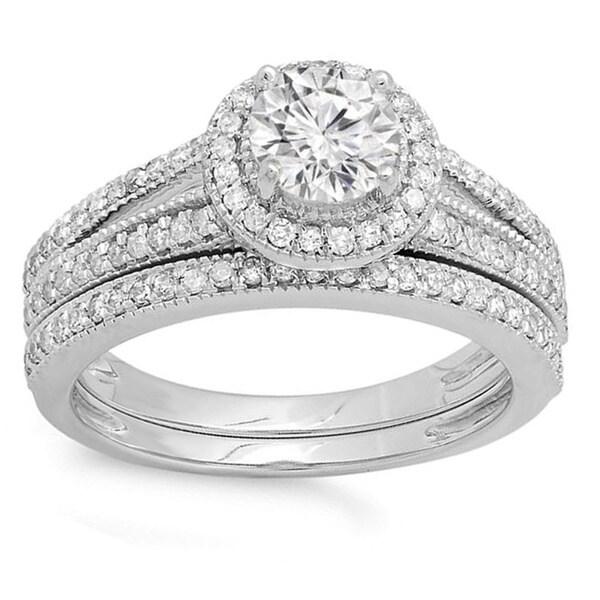 14k White Gold 1 1/4ct TDW Diamond Halo Style Bridal Engagement Ring Set