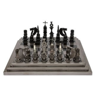Handcrafted Upcycled Auto Part 'Rustic Warriors' Chess Set (Mexico)