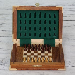 Handcrafted Seesham Wood 'Strategy Book' Chess Set (India)