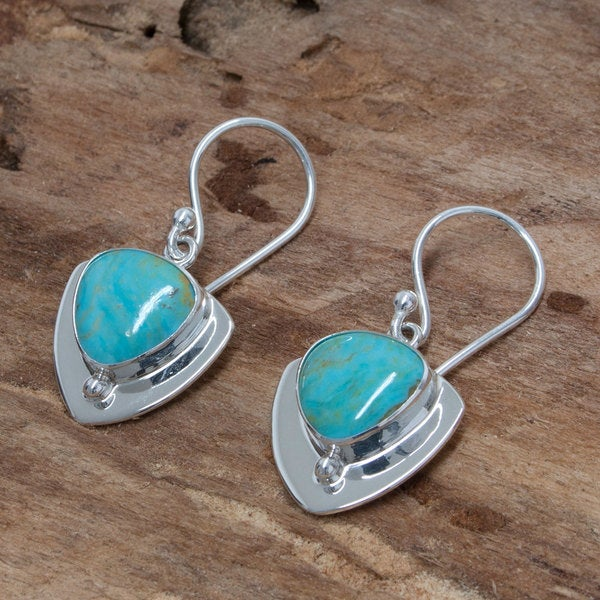 Silver 'Pyramids of Friendship' Turquoise Earrings (Mexico)
