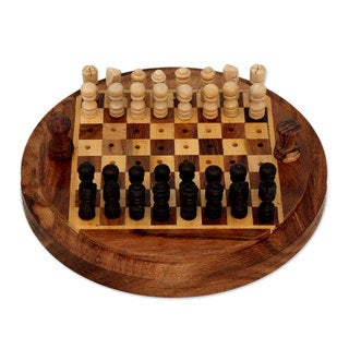 Handcrafted Seesham Wood 'Go Anywhere' Travel Chess Set (India)
