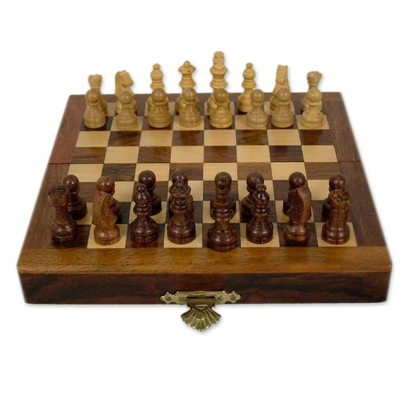 Handcrafted Seesham Wood 'Mighty Mind' Travel Chess Set (India)