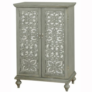 Hand Painted Distressed Weathered Grey Finish Mirrored Wine Cabinet