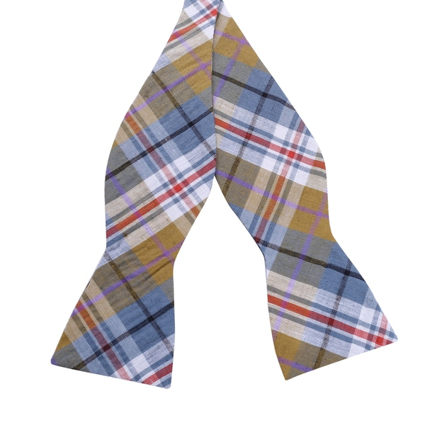 Skinny Bow Tie Madness Yellow Plaid Bow Tie