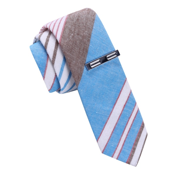 Skinny Tie Madness Blue Striped Tie with Clip