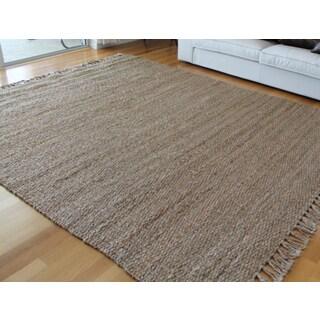 Hand-spun Jute Fringed Carpet (8' x 10')
