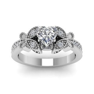 14k White Gold 3/4ct TDW Heart Diamond Flywheel Milgrain Engagement Ring (G-H, SI1-SI2)