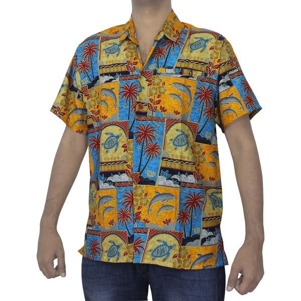 La Leela Men's Orange Tropical Printed Button-down Shirt Beach Swim Camp
