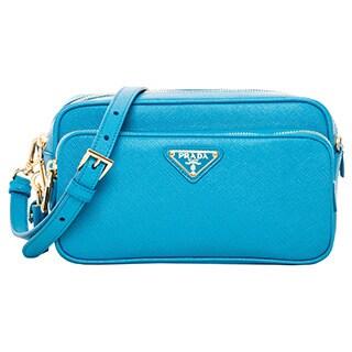 Prada Blue Saffiano Leather Small Crossbody Bag