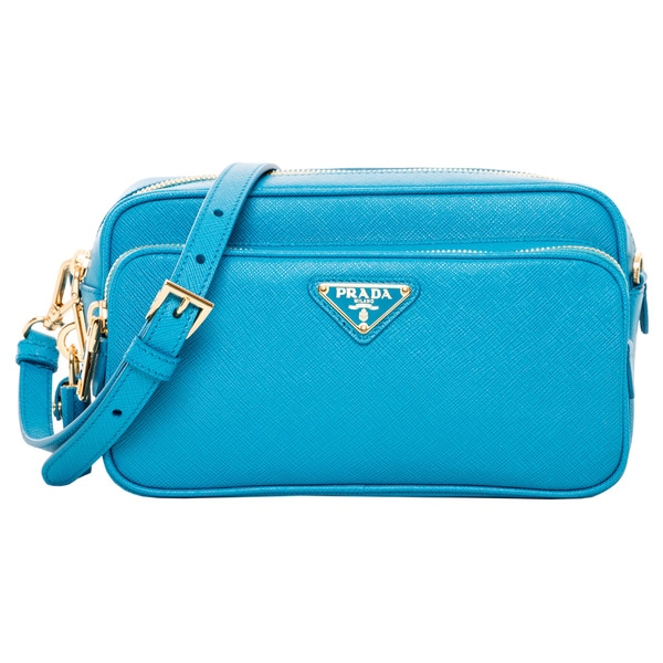 Prada Blue Saffiano Leather Small Crossbody Bag