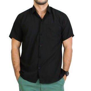 La Leela Men's Solid Black Beach Button-down Shirt Swim Camp