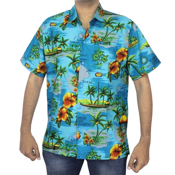 La Leela Men's Blue Hawaii Paradise Print Button-down Shirt Beach Swim Camp