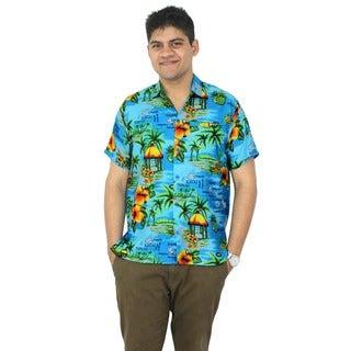 La Leela Men's Blue Hawaii Paradise Print Button-down Shirt Beach Swim Camp