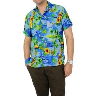 La Leela Men's Blue Hawaiian Print Button-down Shirt Beach Swim Camp