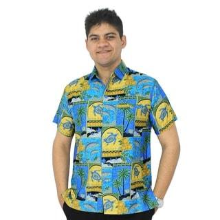 La Leela Men's Turquoise Hawaiian Sea Turtle Button-down Shirt Beach Swim Camp