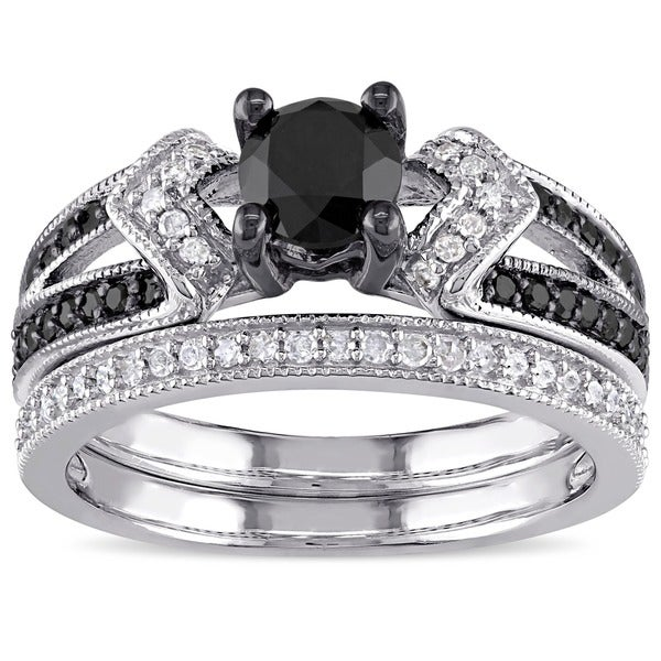 Miadora Sterling Silver 1 1 8ct TDW Black and White Diamond Bridal Ring Set