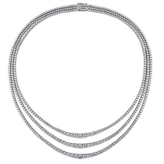 Miadora 18k White Gold 14 4/5ct TDW Diamond Tennis Necklace (G-H, SI1-SI2)