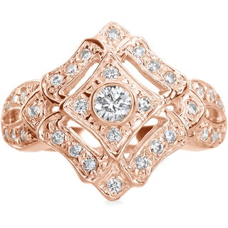 SummerRose 14k Rose Gold 1/2ct. TDW Antique Look Diamond Ring (H-I, SI1-SI2)