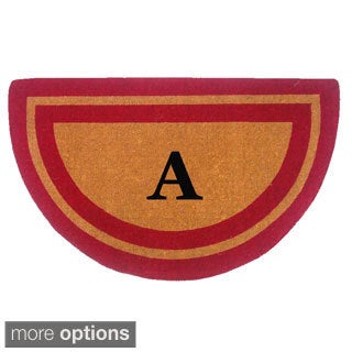 Door Mat- Half Round - Persimmon with Monogram