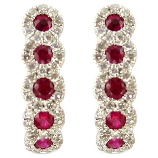 Kabella 18k White Gold Ruby 1/3ct TDW Diamond Halo Hoop Earrings (G-H, SI1-SI2)