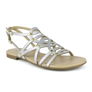 Mark and Maddux Women's Bishop-06 Strappy Gold Accents Sandals