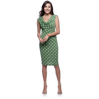Connected Apparel Kiwi Draped Neck Polka Dot Dress