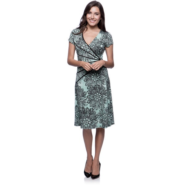 Connected Apparel Spearmint Floral Starburst Dress