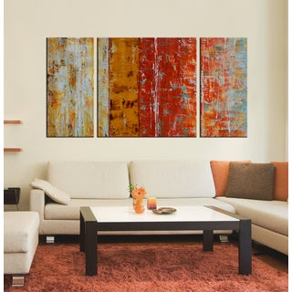 Hand-painted 'Abstract 653' 3-piece Gallery-wrapped Oil on Canvas Set