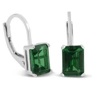 Sterling Silver 2ct Created Emerald Leverback Earrings