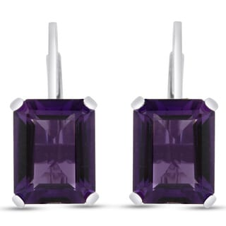 Sterling Silver 4 1/2ct Emerald-cut Amethyst Leverback Earrings