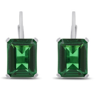 Sterling Silver 4 1/2ct Emerald-cut Emerald Leverback Earrings