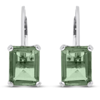 Sterling Silver 4 1/2ct Emerald-cut Green Amethyst Leverback Earrings