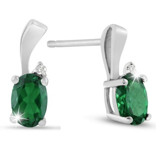 Sterling Silver 1 1/2ct Emerald and Diamond Accent Stud Earrings