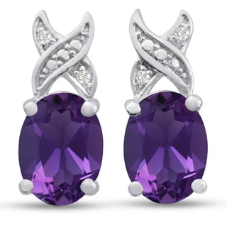 Platinum Overlay 3ct Oval-cut Amethyst and Diamond Accent Earrings
