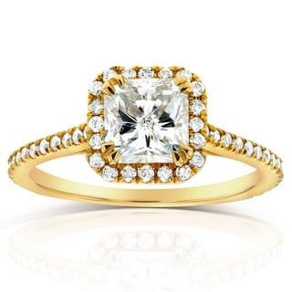 Annello 14k Yellow Gold 1 1/3ct TDW Radiant Diamond Halo Engagement Ring (H-I, I1-I2)