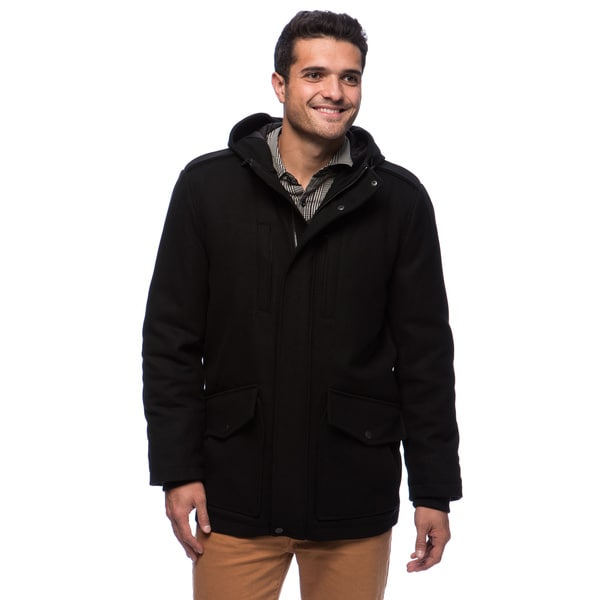 Tommy Hilfiger Men's Wool Melton Hooded Stadium Jacket