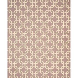 EORC Hand Woven Wool Purple Links Dhurrie Rug (8'9 x 11'9)