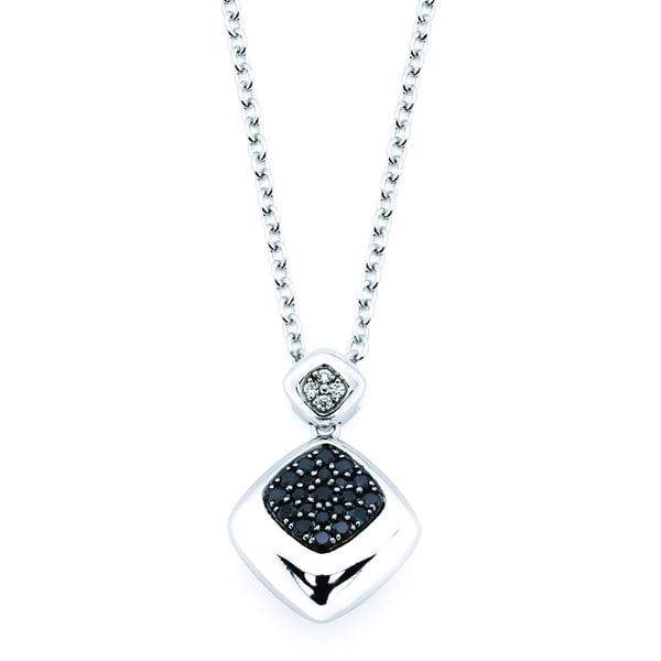 Lotopia Love Cushion Pendant featuring Black Zirconia with White Accents