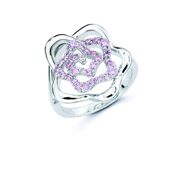 Lotopia Love Flower Ring featuring Pink Zirconia