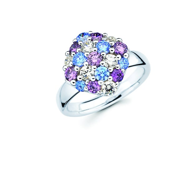 Lotopia Ring featuring Blue, Purple and White Swarovski Zirconia